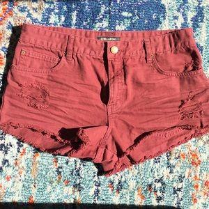 Billabong maroon denim high waist cutoff shorts